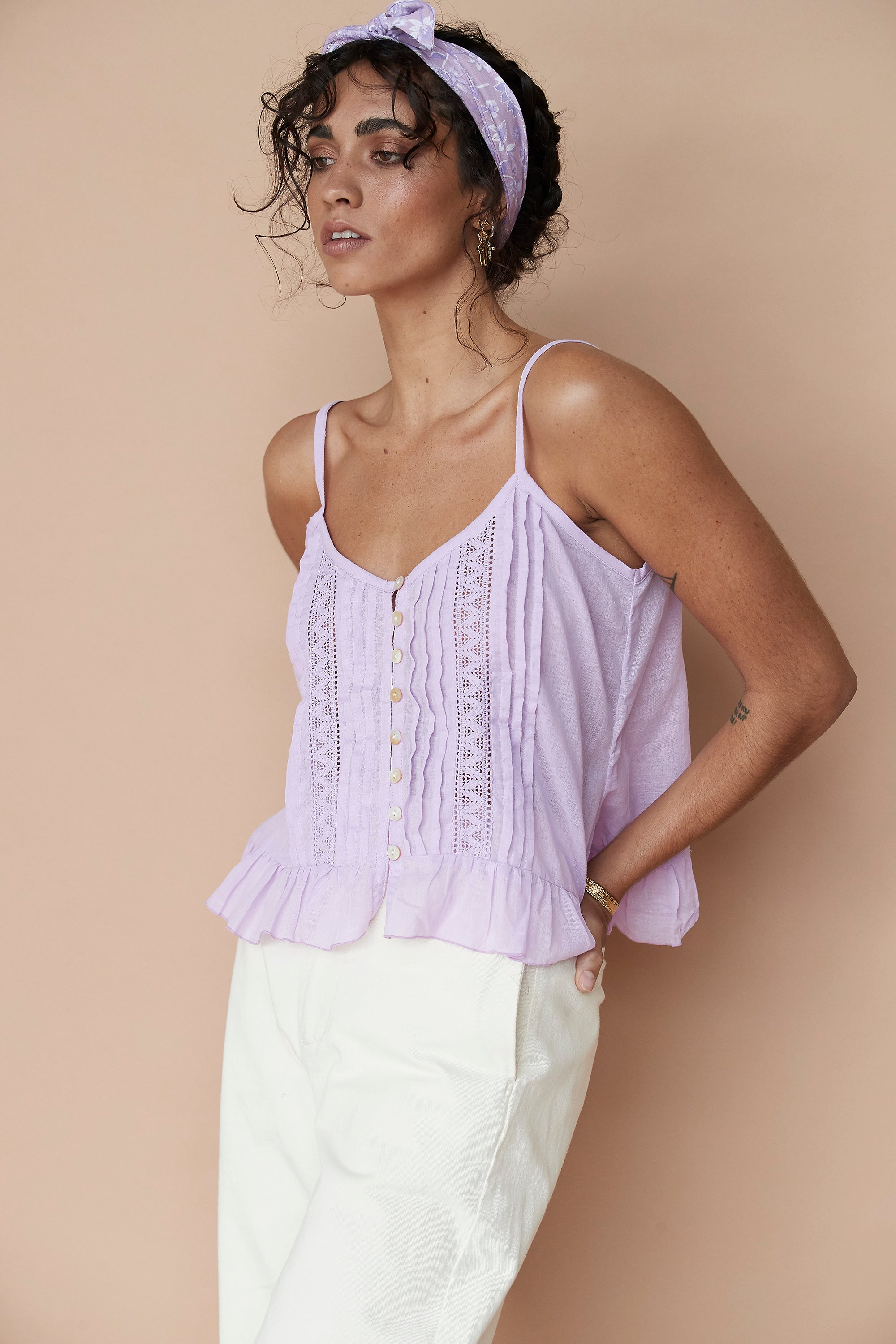 Lily Rose Cropped Singlet  Lilac - Saffron Road