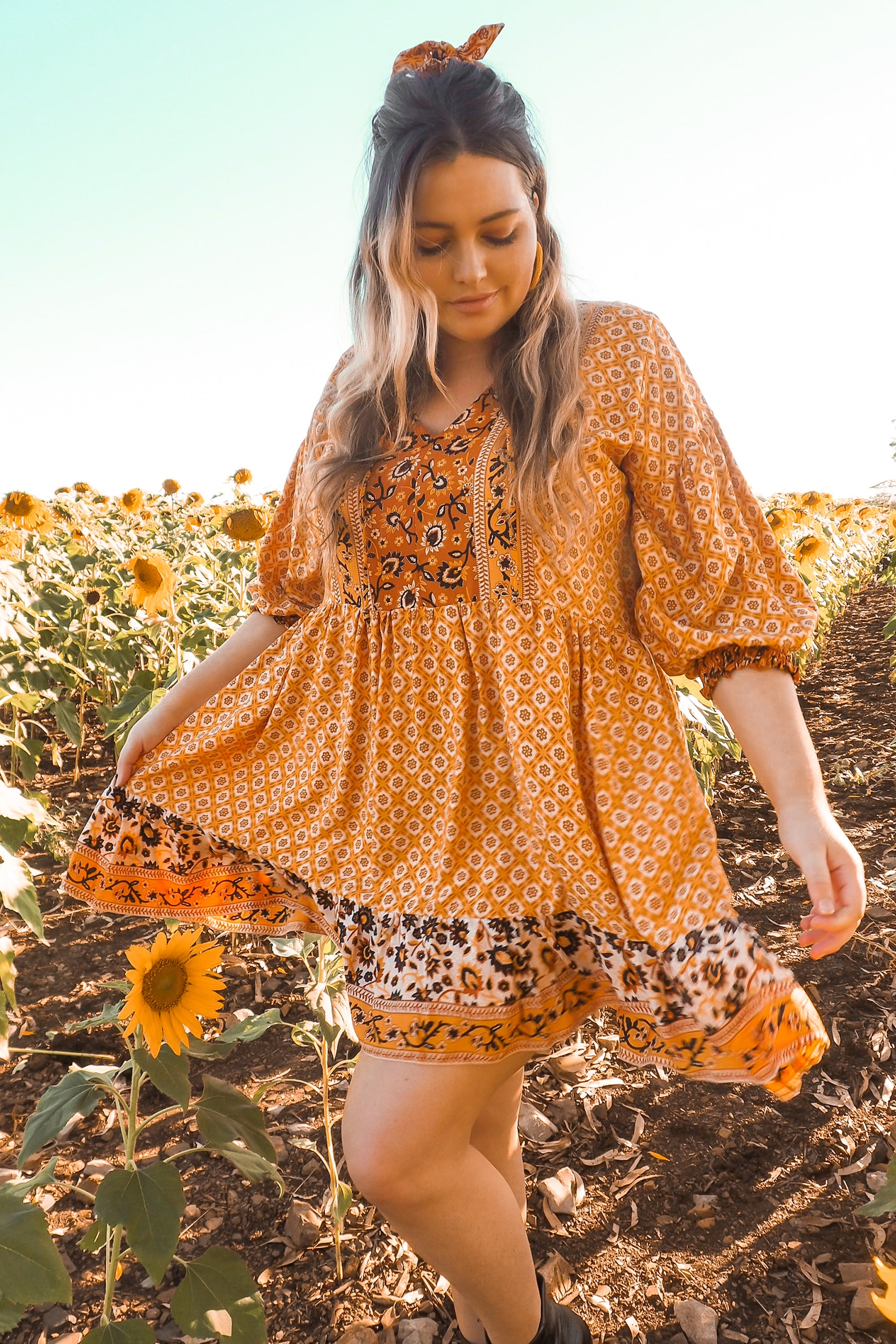 Juliette Billow Sleeve Dress Short 🌻 Winter Sun - Summer Dress