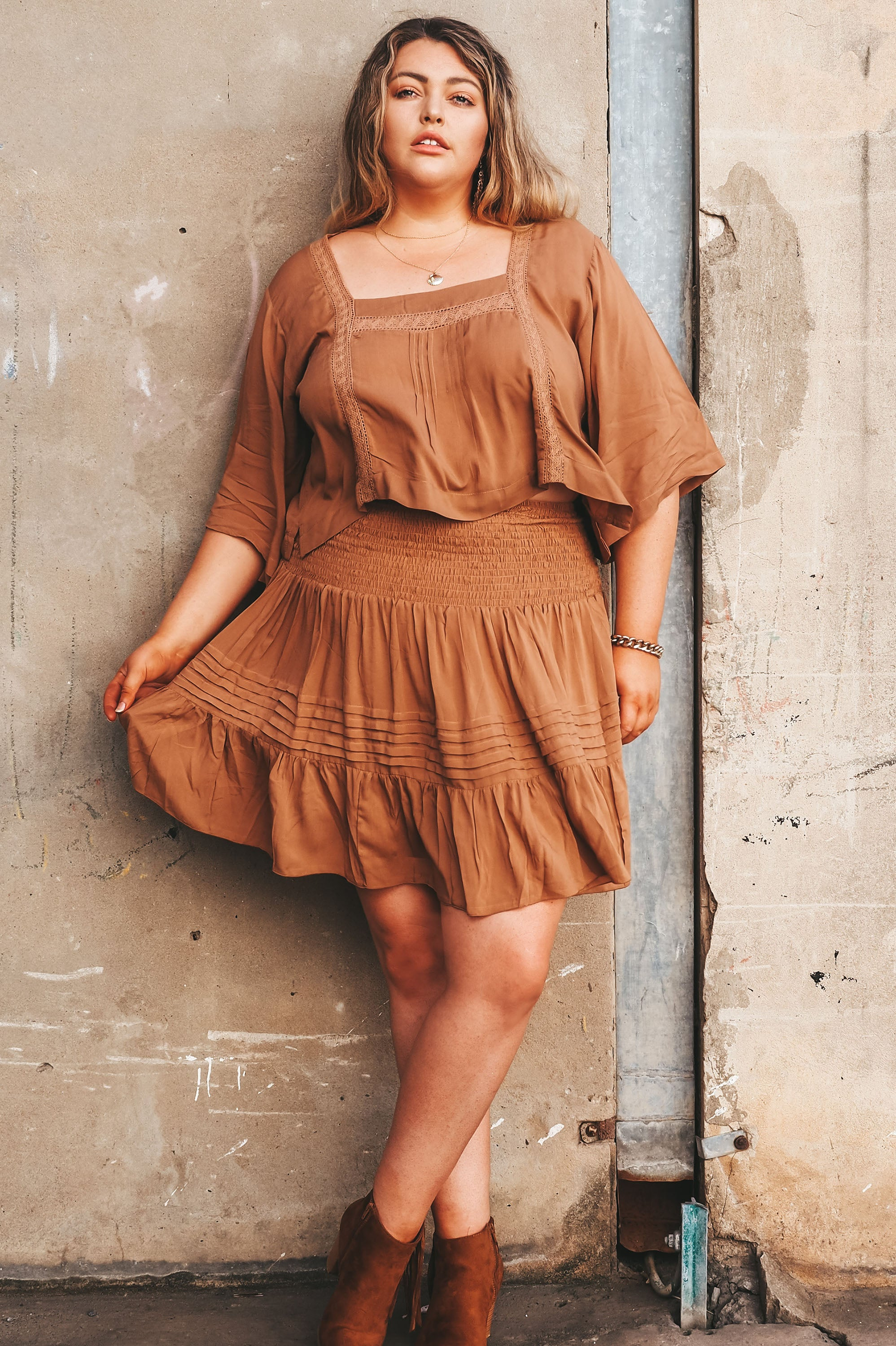 Flip Skirt Solid Mocha - Saffron Road