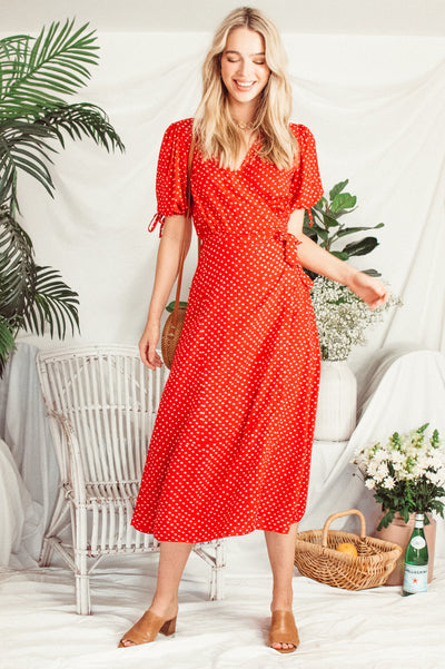 Wrap Dress ❤️ Ruby Red - Saffron Road