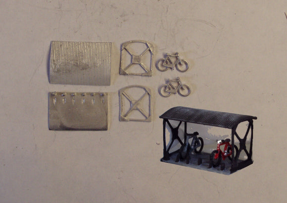B13 (3) Bike shed with 2 bikes - N GAUGE -
