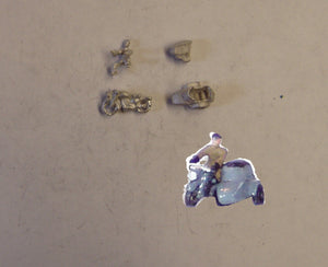 E106 (3) 1950's motorcycle sidecar and rider - N GAUGE -