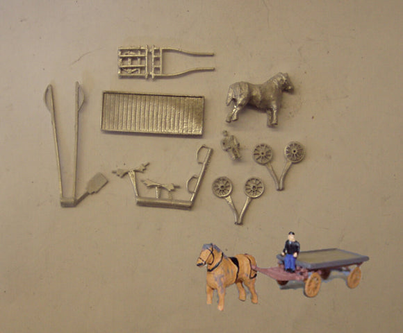 E201 (4) Horse drawn dray - N GAUGE -