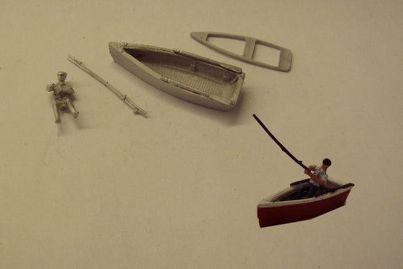 PW156 (2) Man fishing from rowboat - OO GAUGE -