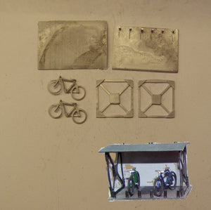 PW216 ( 3) Bike shed with 2 bikes - OO GAUGE -