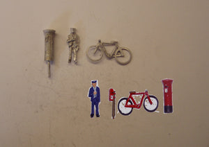 PW219 (1) Postman, bike and postbox - OO GAUGE -