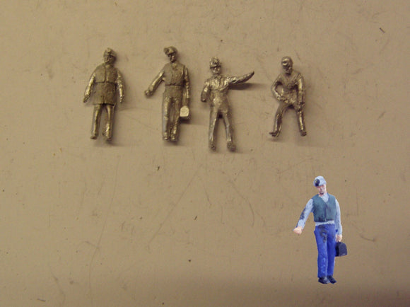 PW274 (1) Miners with hats/lamps (4) - OO GAUGE -