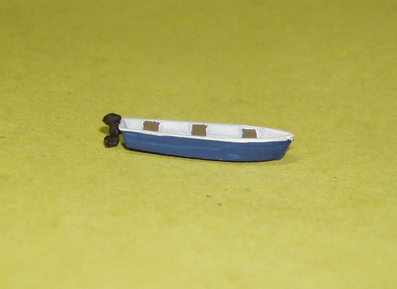 X64 13ft flat bottom skiff / boat with outboard motor - N GAUGE -