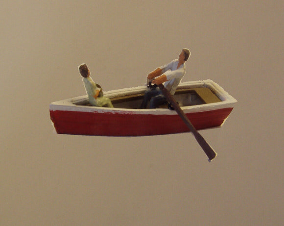 Z23 Row boat with man rowing & a passenger - OO GAUGE -