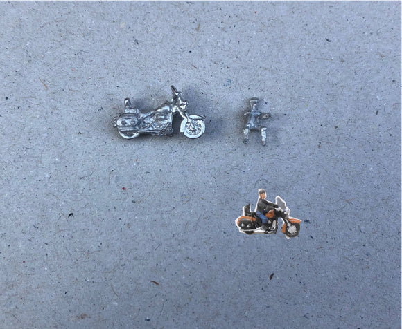 E109 (2) 1950's Harley Davidson with rider - N GAUGE -