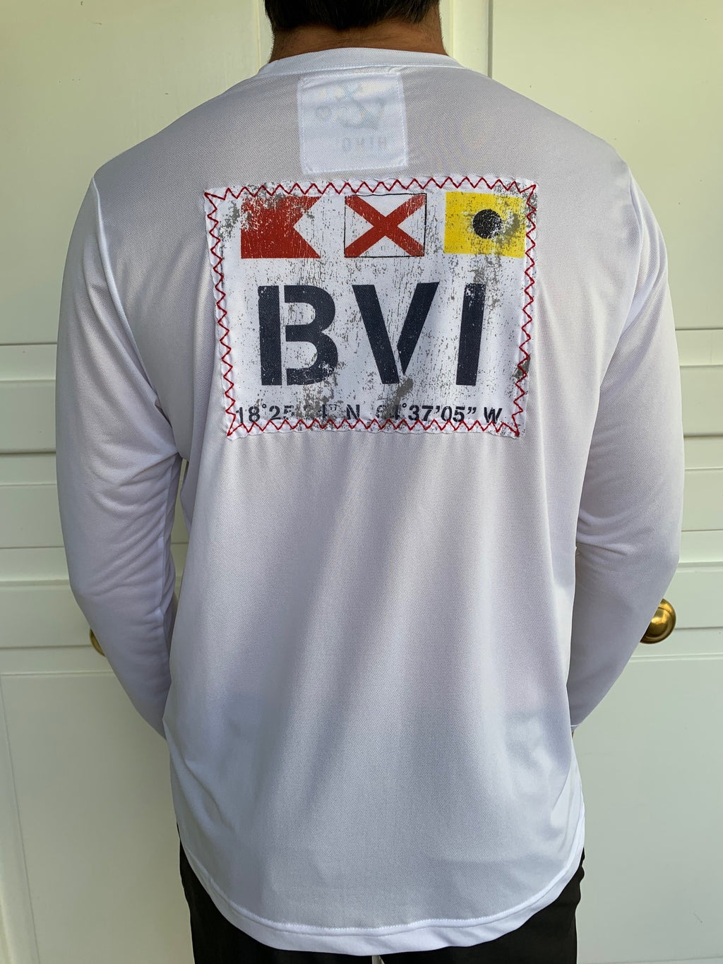 Long Sleeve BVI Signal Flag UPF50 Shirt - White