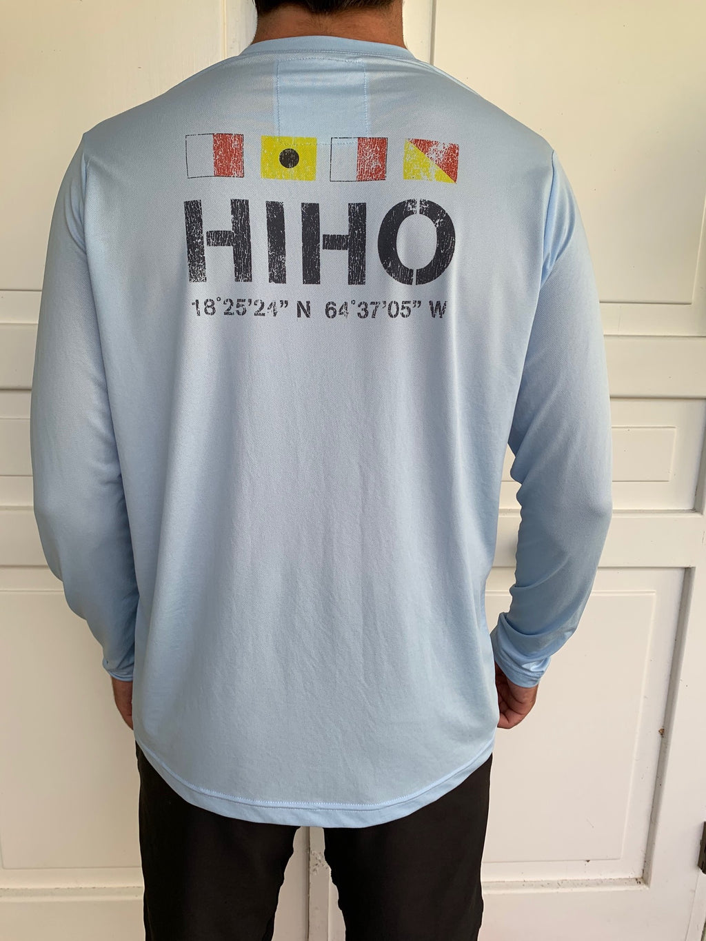 Long Sleeve HIHO Flags UPF50 Shirt - Powder Blue
