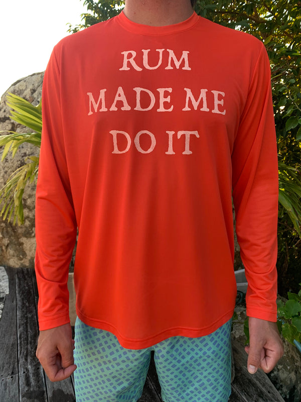 Long Sleeve Rum Made Me Do It UPF50 Shirt - Sunset Red