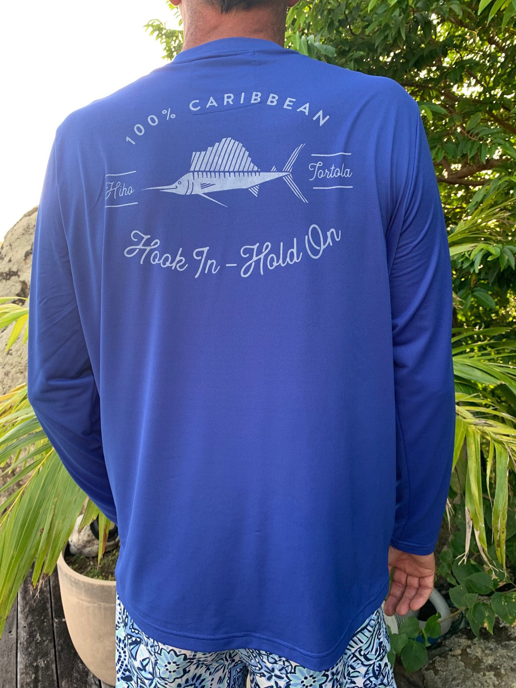 Long Sleeve HIHO Swordfish UPF 50 Shirt - Regatta Blue