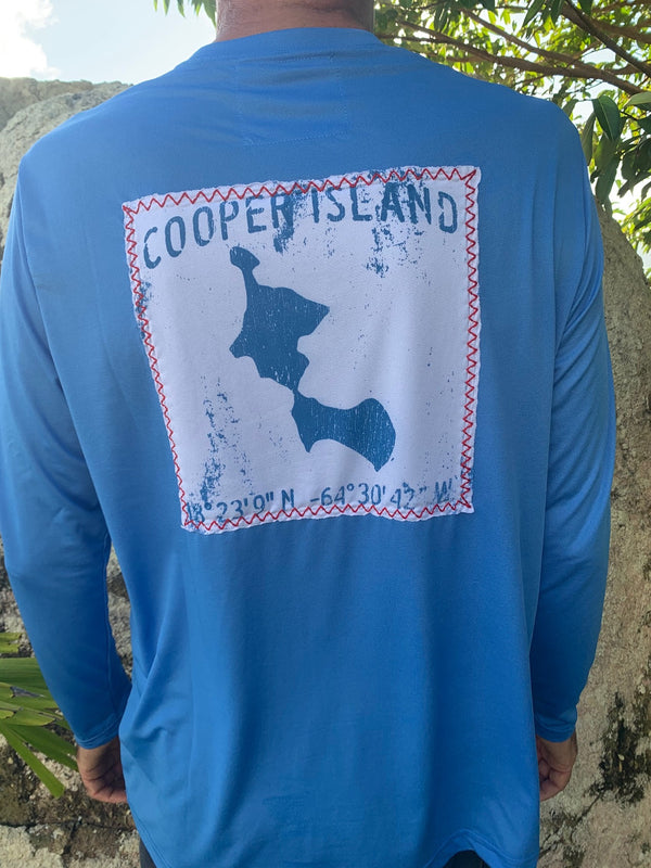 map of cooper island on upf 50 shirt