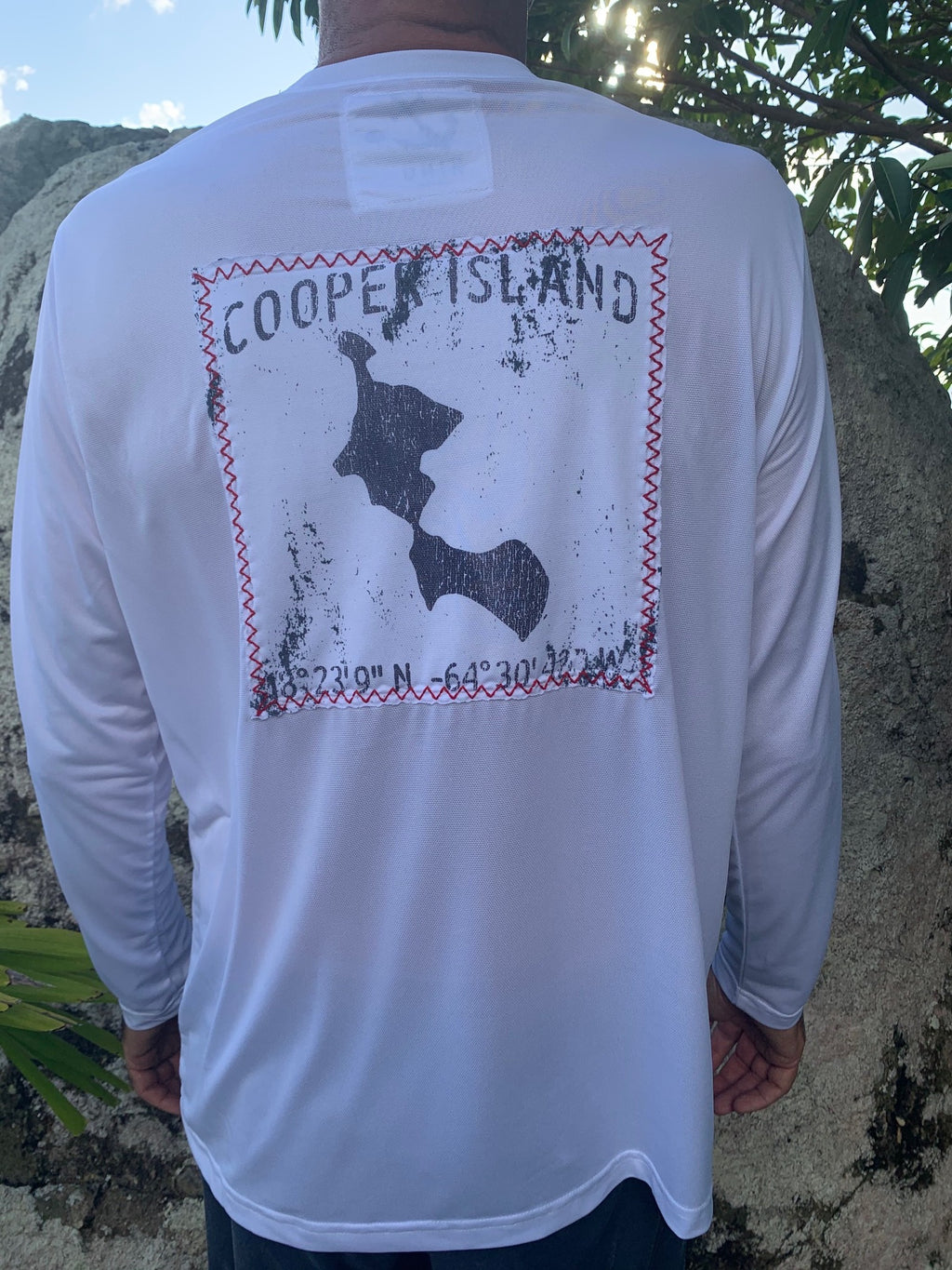 Long Sleeve Cooper Island Patch Suntek - White