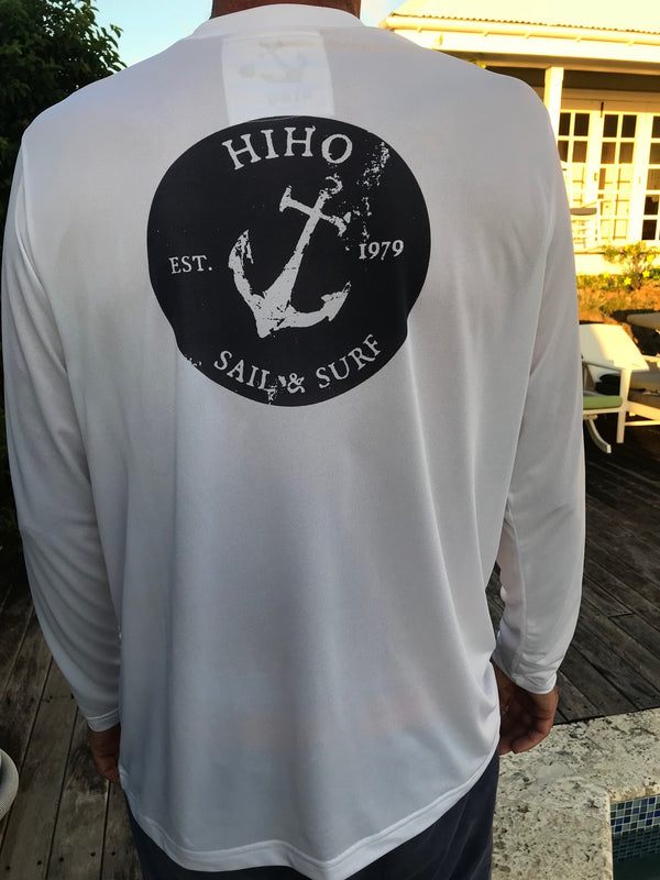 Long Sleeve Oval Anchor UPF50 Shirt - White