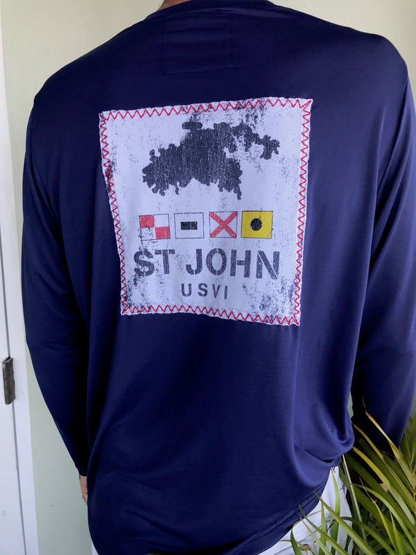 Long Sleeve St John Flag Map Patch Suntek - Patriot Blue