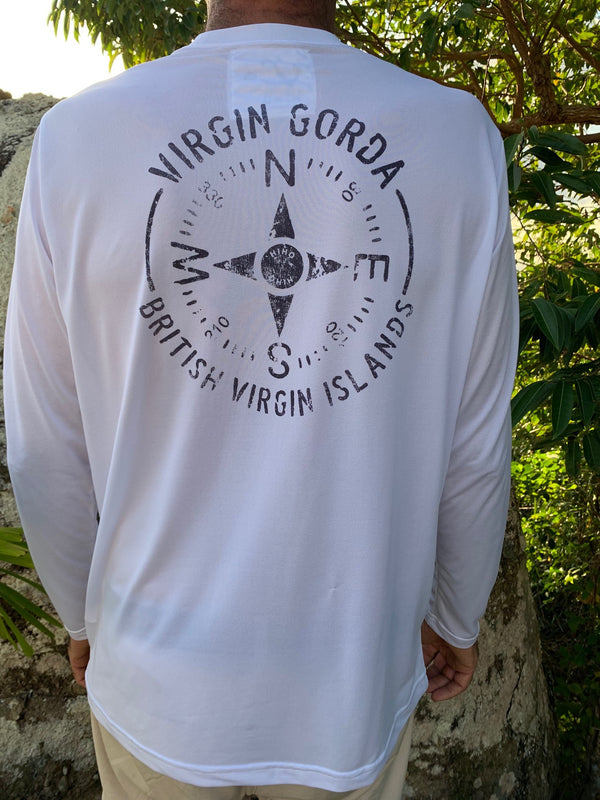 UPF 50 sun protection top with virgin gorda compass graphic