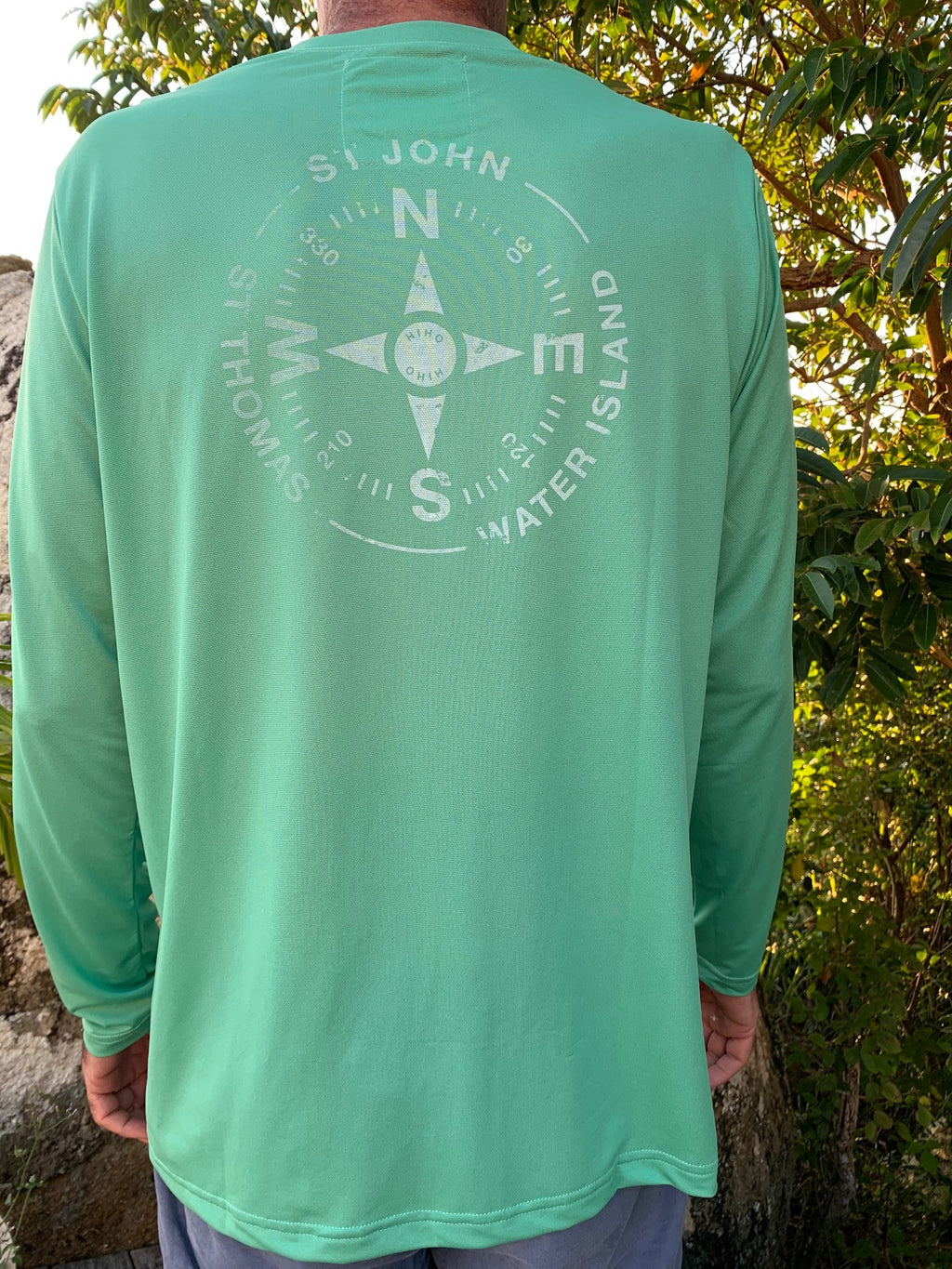 quick drying upf50 shirt with virgin islands compass graphic