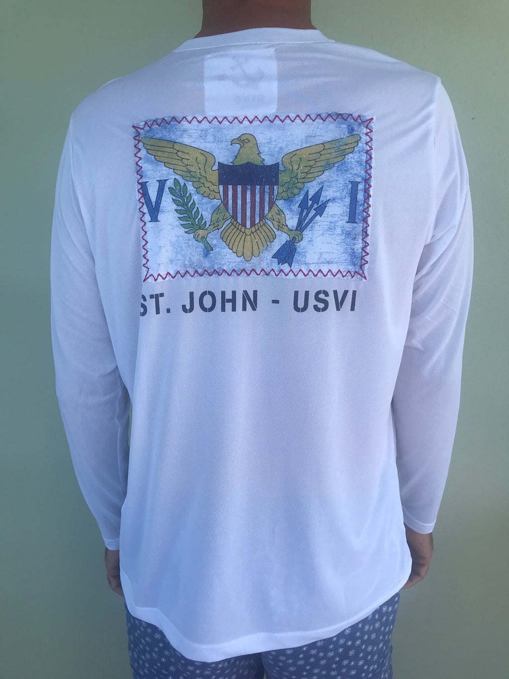Long Sleeve Virgin Islands Flag St John Patch Suntek - White