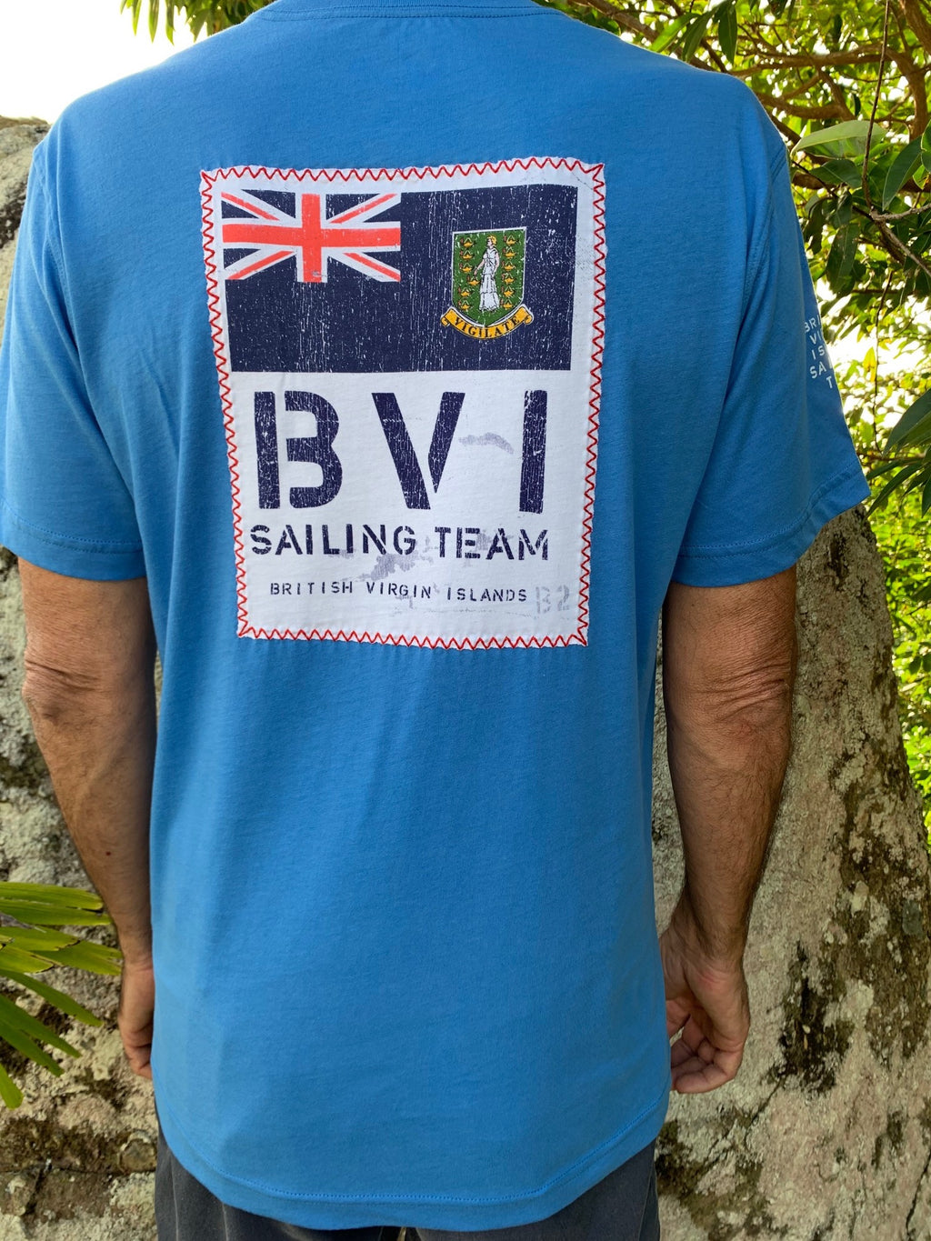 cotton t-shirt with nautical stitch BVI patch graphic