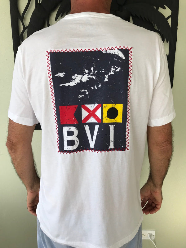 BVI flag patch T-shirt with red nautical stitch on graphic