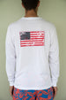 Long Sleeve USA Flag Patch T-shirt - White