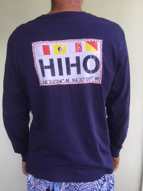 Long Sleeve HIHO Flags Patch T-shirt - Patriot Blue