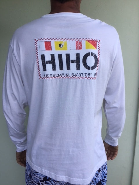 Long Sleeve HIHO Flags T-shirt - White
