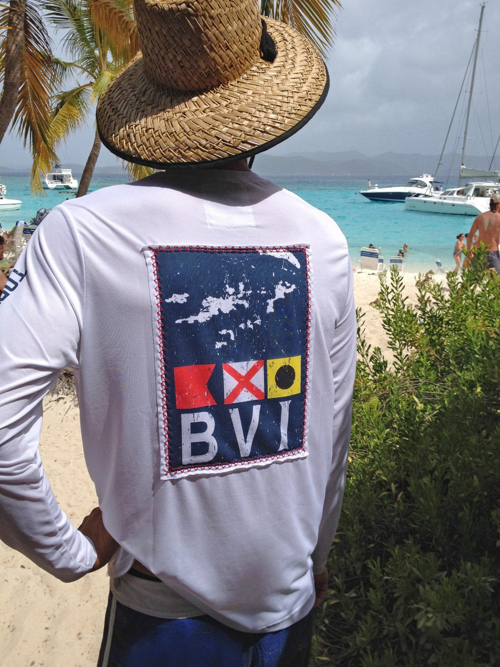 L/S BVI Flag Patch Suntek - White