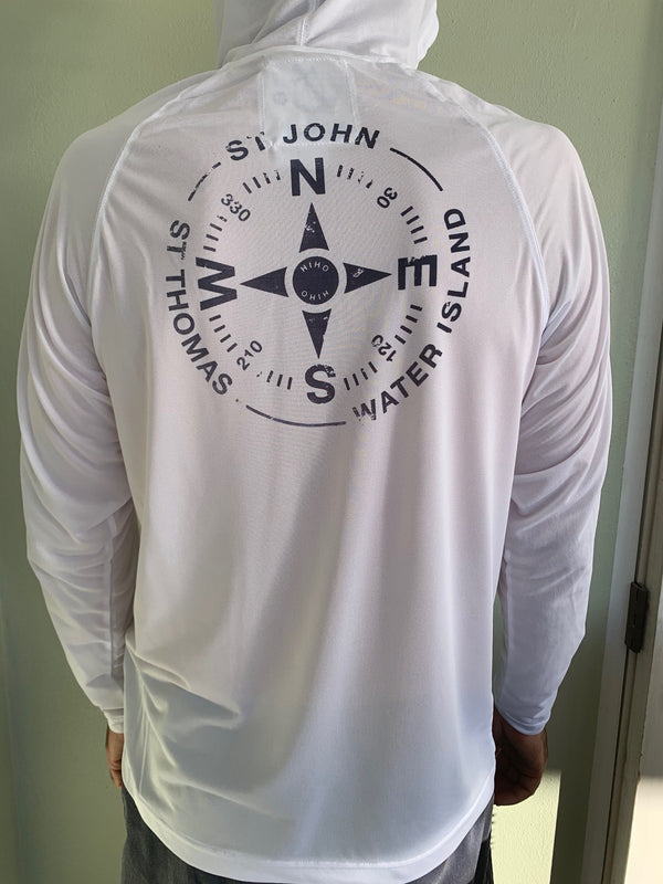 Virgin Islands compass graphic on a hooded UPF 50 top
