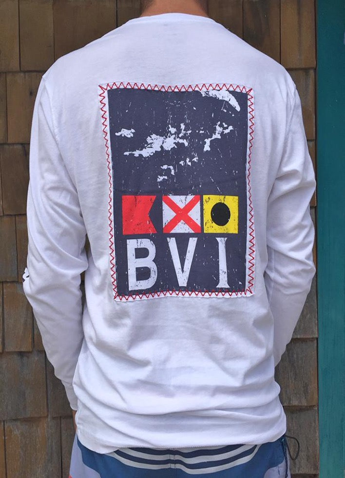 BVI Flag Patch L/S Shirt - White