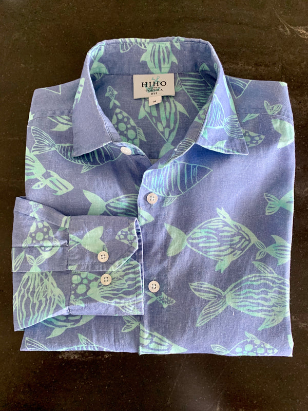 Jeremy Linen Shirt - Blue Fish Print