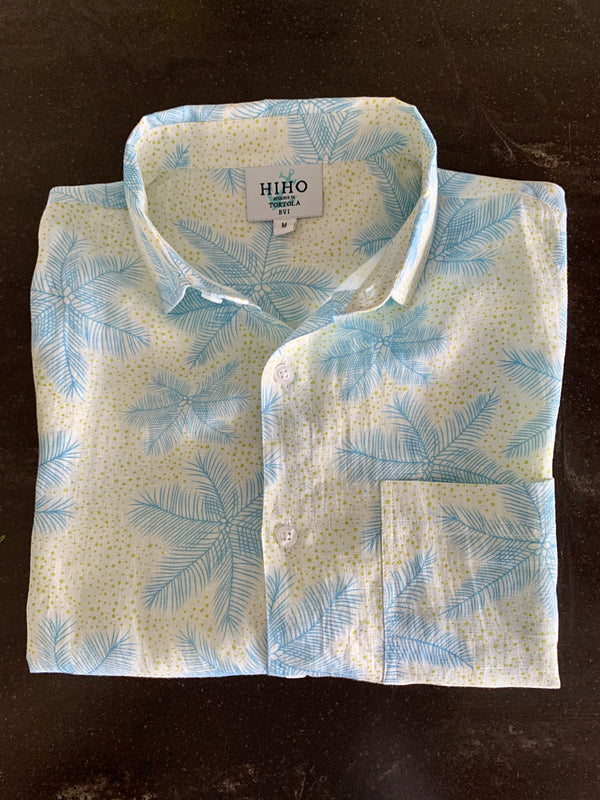 Short Sleeve Irie Linen Shirt - Coconut Fun Blue Print