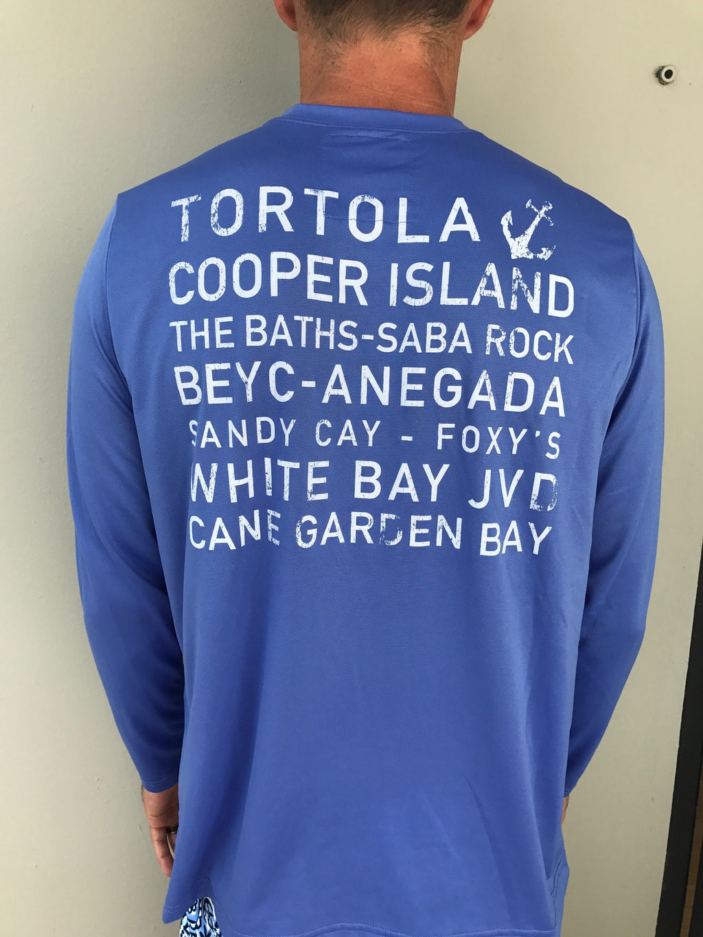 Long Sleeve BVI Island Names Suntek - Barbuda Blue