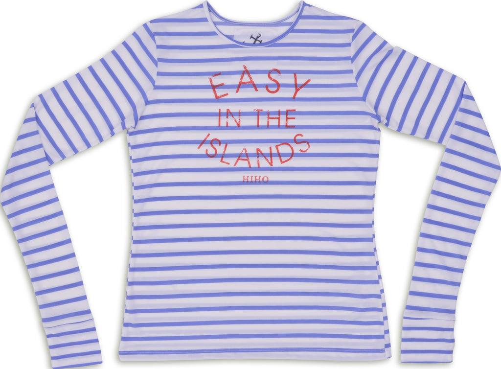 Long Sleeve Easy in the Islands UPF50 Top - Barbuda Blue Stripe