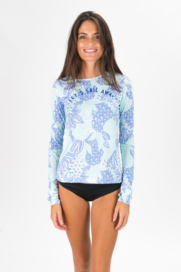 spf 50 top for women in rum punch print