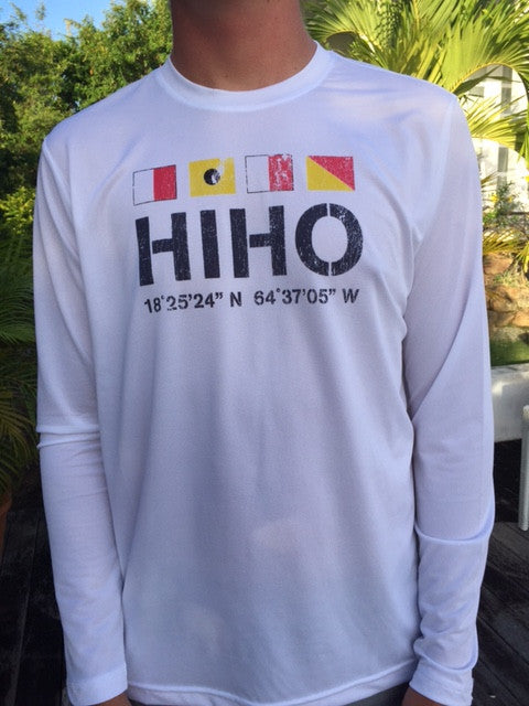 Long Sleeve Front Print HIHO Flags UPF50 Shirt - White