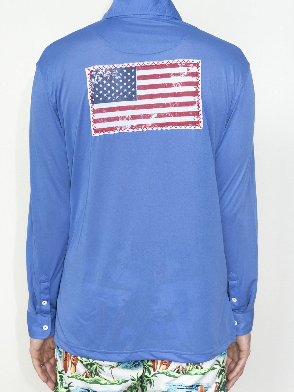 R3 USA Flag Patch UPF50 Shirt - Barbuda Blue