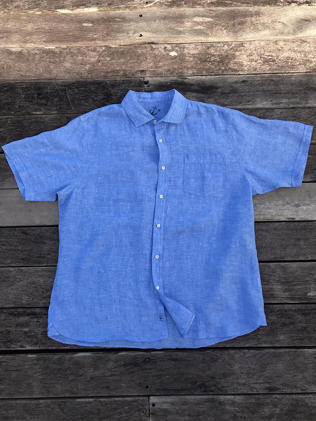 Short Sleeve Linen Shirt - Chambray Blue