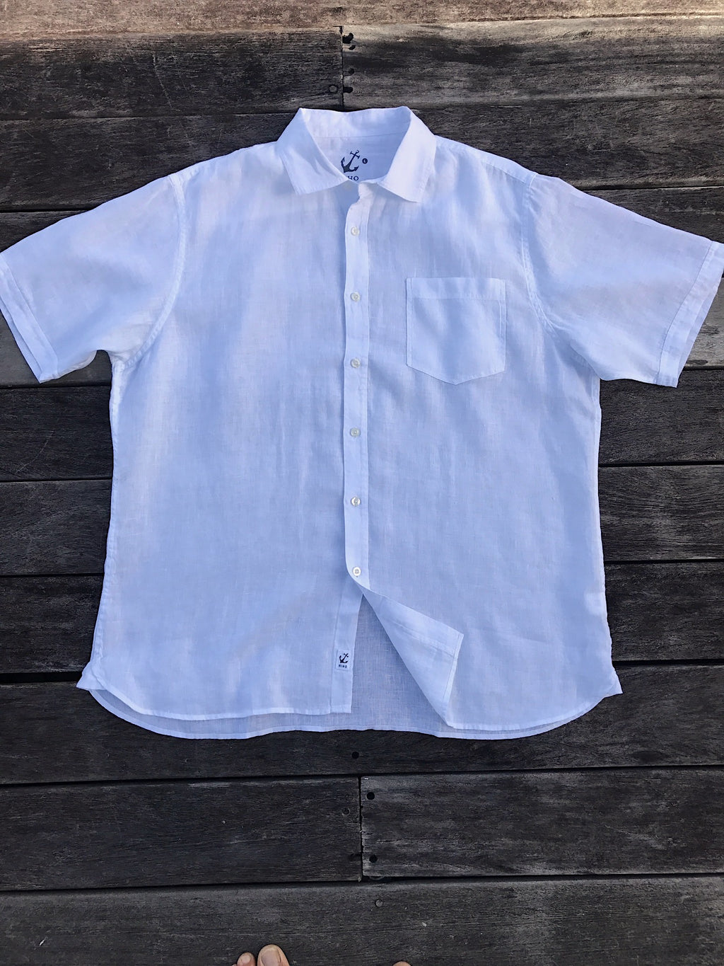 Short Sleeve Linen Shirt - White
