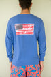 Long Sleeve USA Flag Patch T-shirt - Barbuda Blue