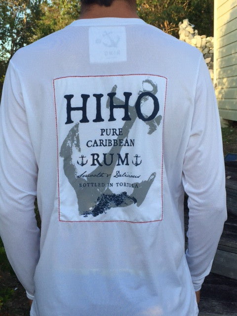Long Sleeve HIHO Rum Patch UPF50 Shirt - White