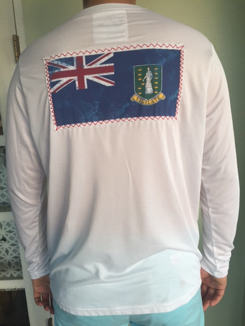 upf50 sun protection T-shirt with BVI flag patch