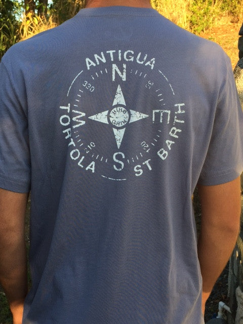 Short Sleeve Tortola Compass T-shirt - Blue Granite