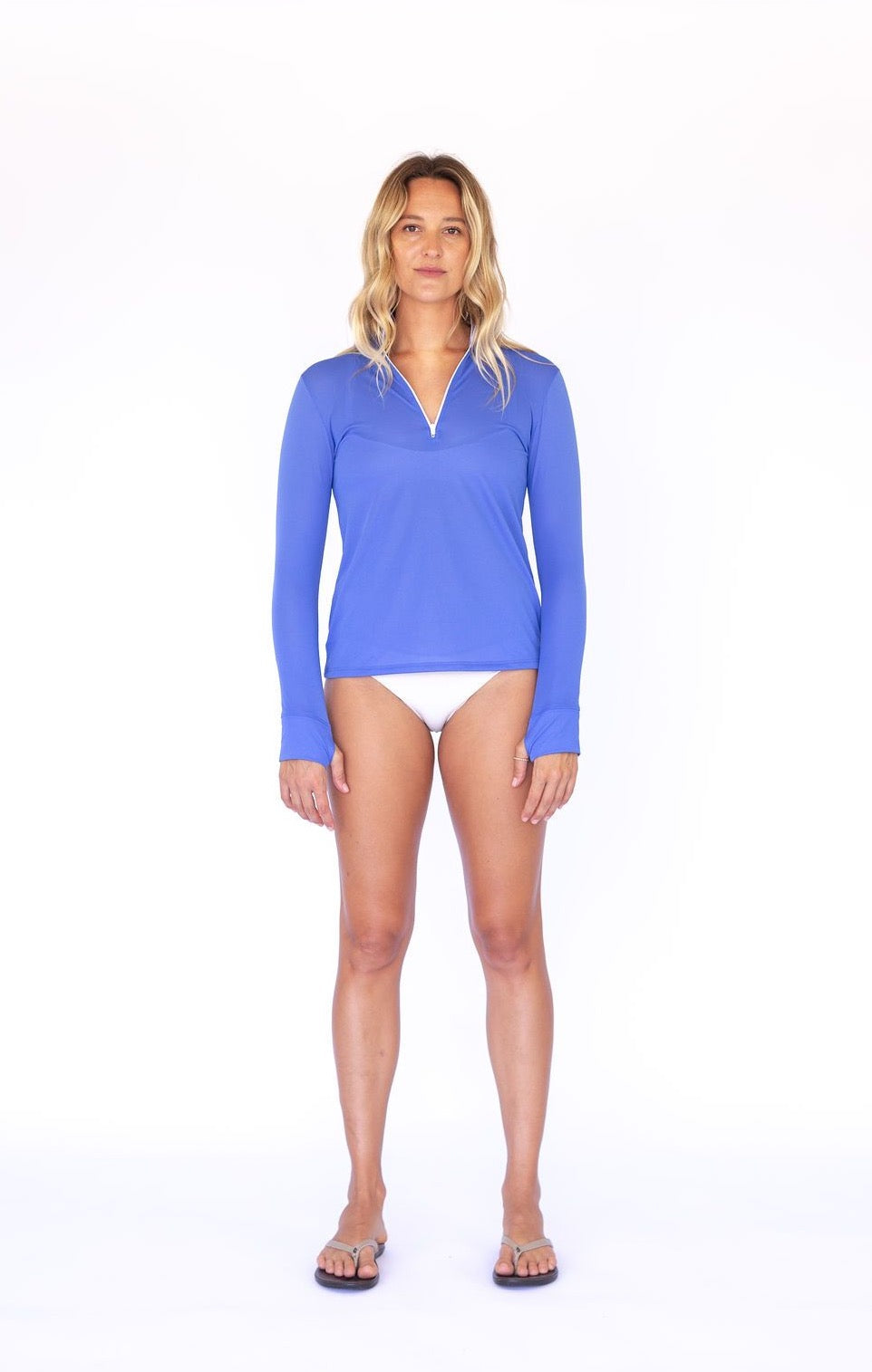 Zip Front UPF50 Top - Barbuda Blue