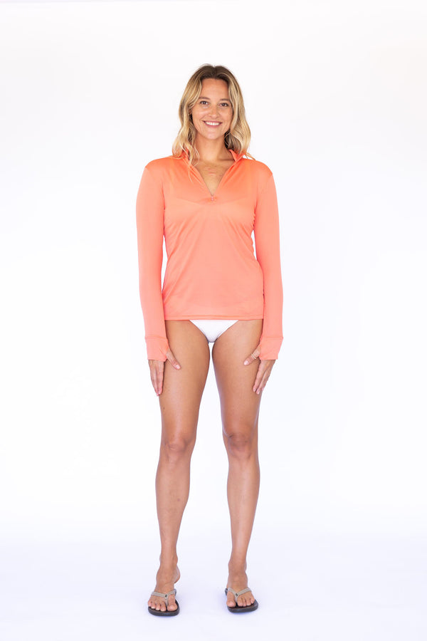 Zip Front UPF50 Top - Living Coral