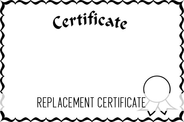 replacement certificate