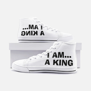 I AM A KING....Unisex High Top Canvas Shoes - Lilrobinzz-clout